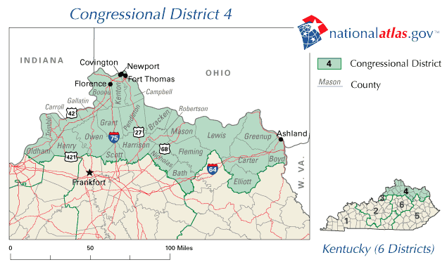 United States House of Representatives, Kentucky District 4 Map large map