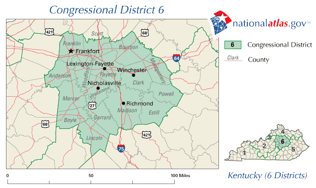 United States House of Representatives, Kentucky District 6 Map ...