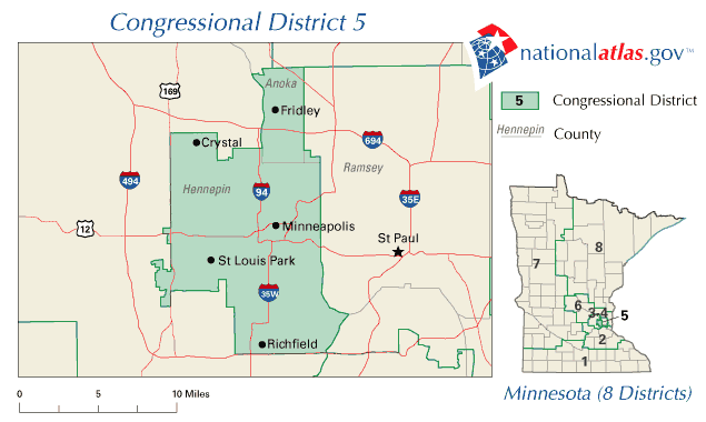 United States House of Representatives, Minnesota District 5 Map ...