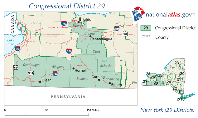 United States House of Representatives, New York District 29 Map large map