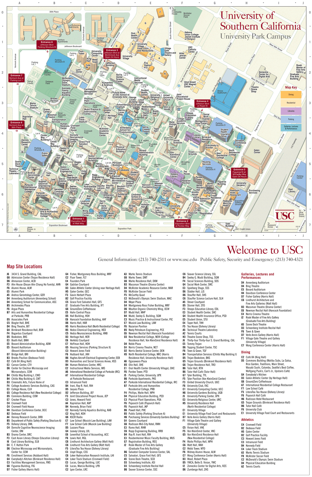 University of Southern California Map large map