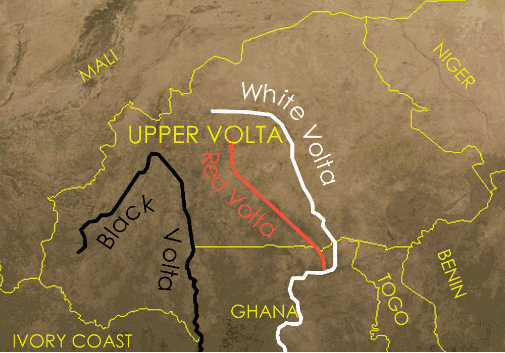 Upper Volta Map With Rivers Mapsofnet