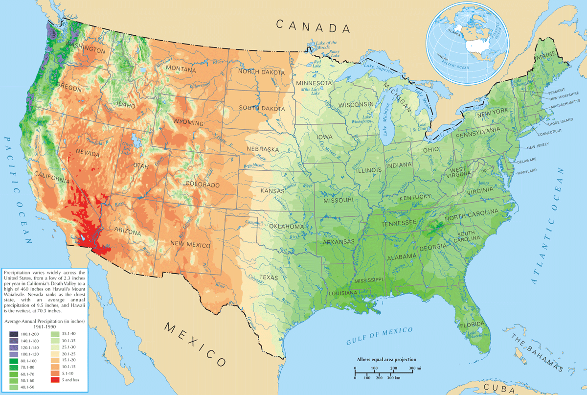 Us Average Precipitation Map large map