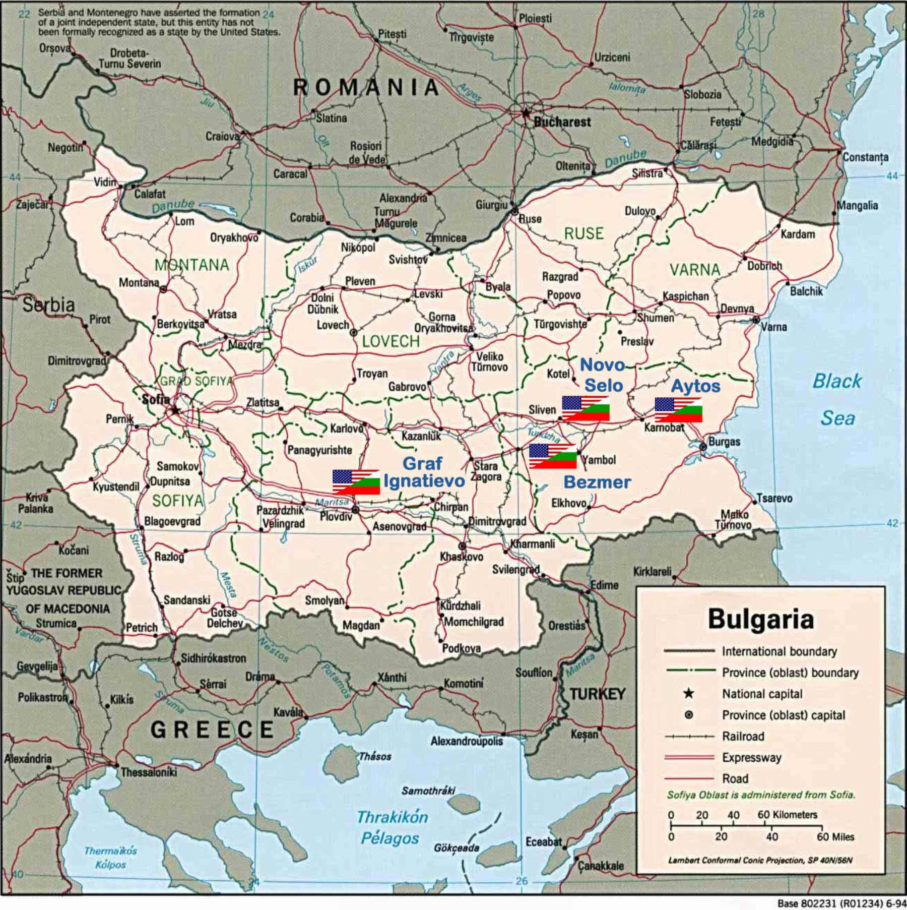 Us Bulgarian Bases large map