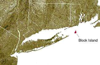 Us East Coast Map With Block Island Highligting large map