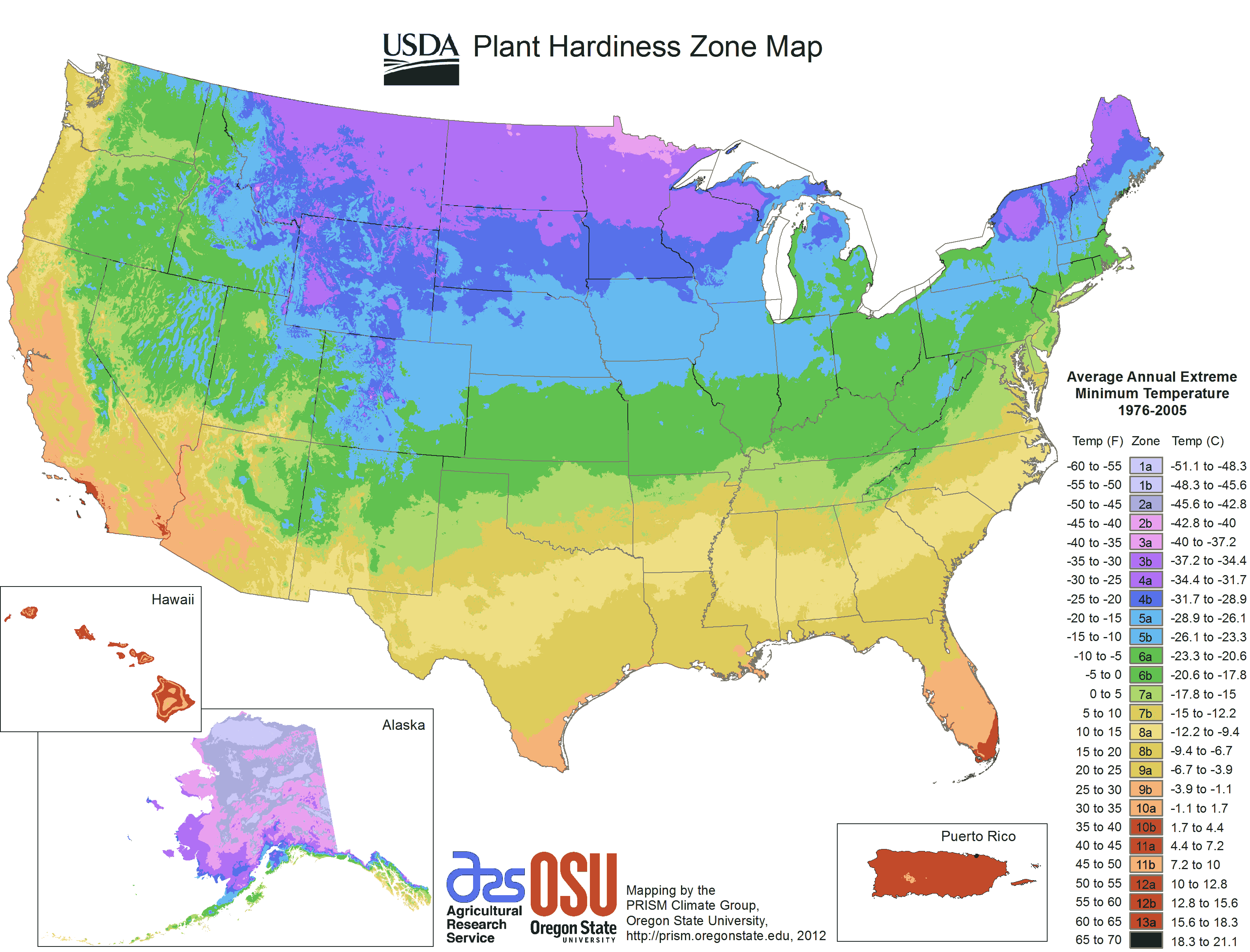 Us Plant Hardiness Zone Map large map