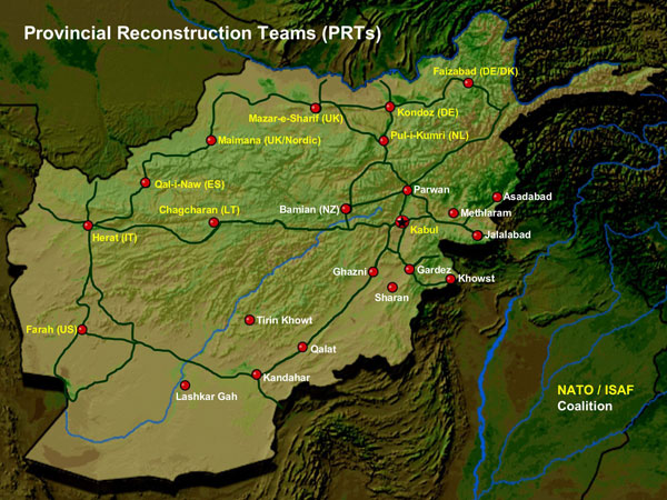 Us Provincial Reconstruction Teams In Afghanistan large map