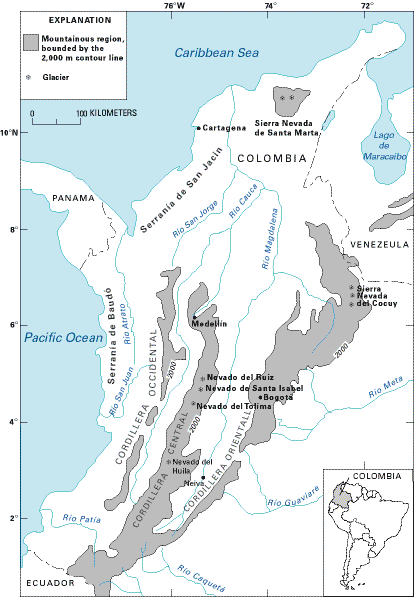 Usgs Glaciers Colombia large map