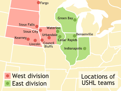 Ushl Team Locations large map