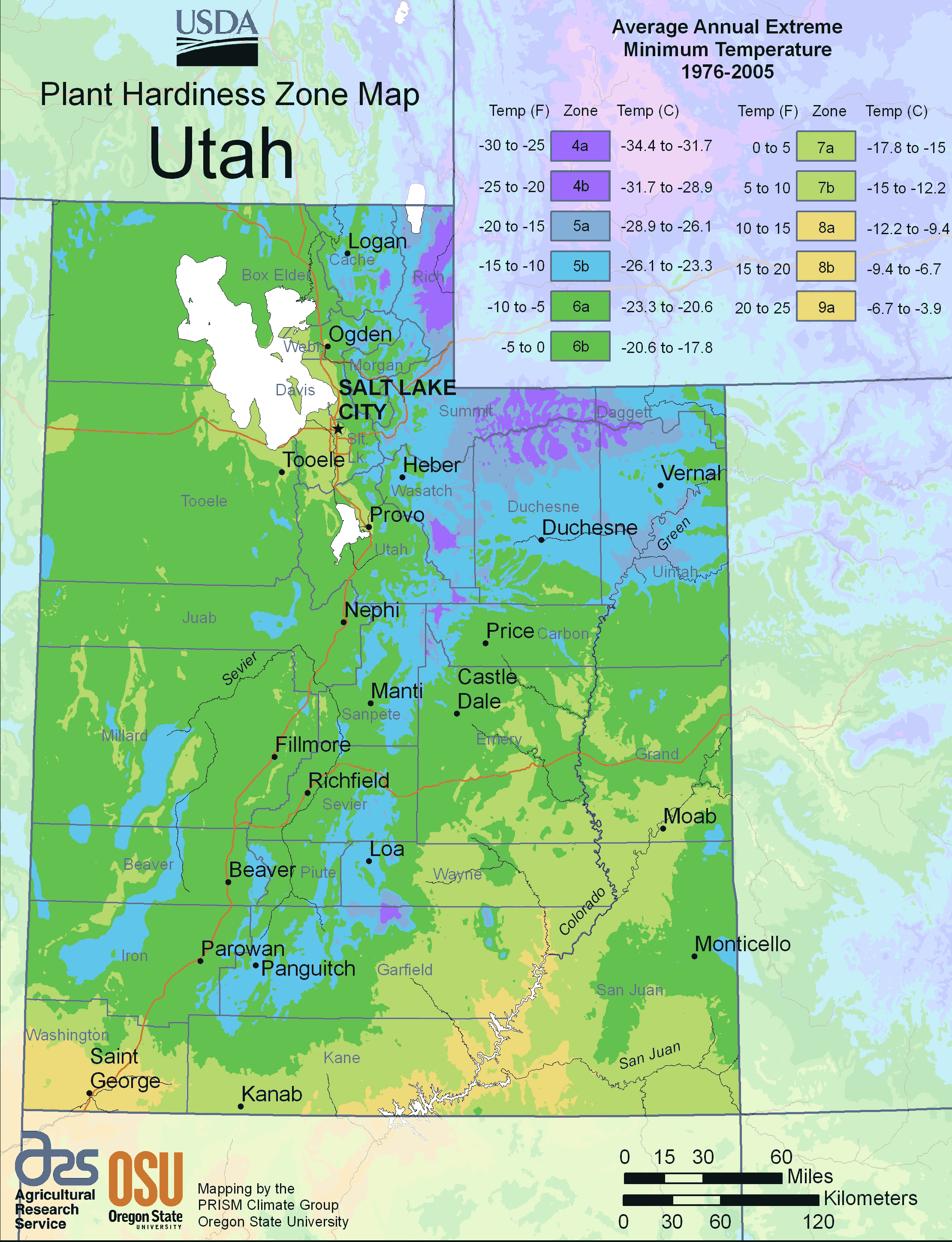 Utah Plant Hardiness Zone Map large map