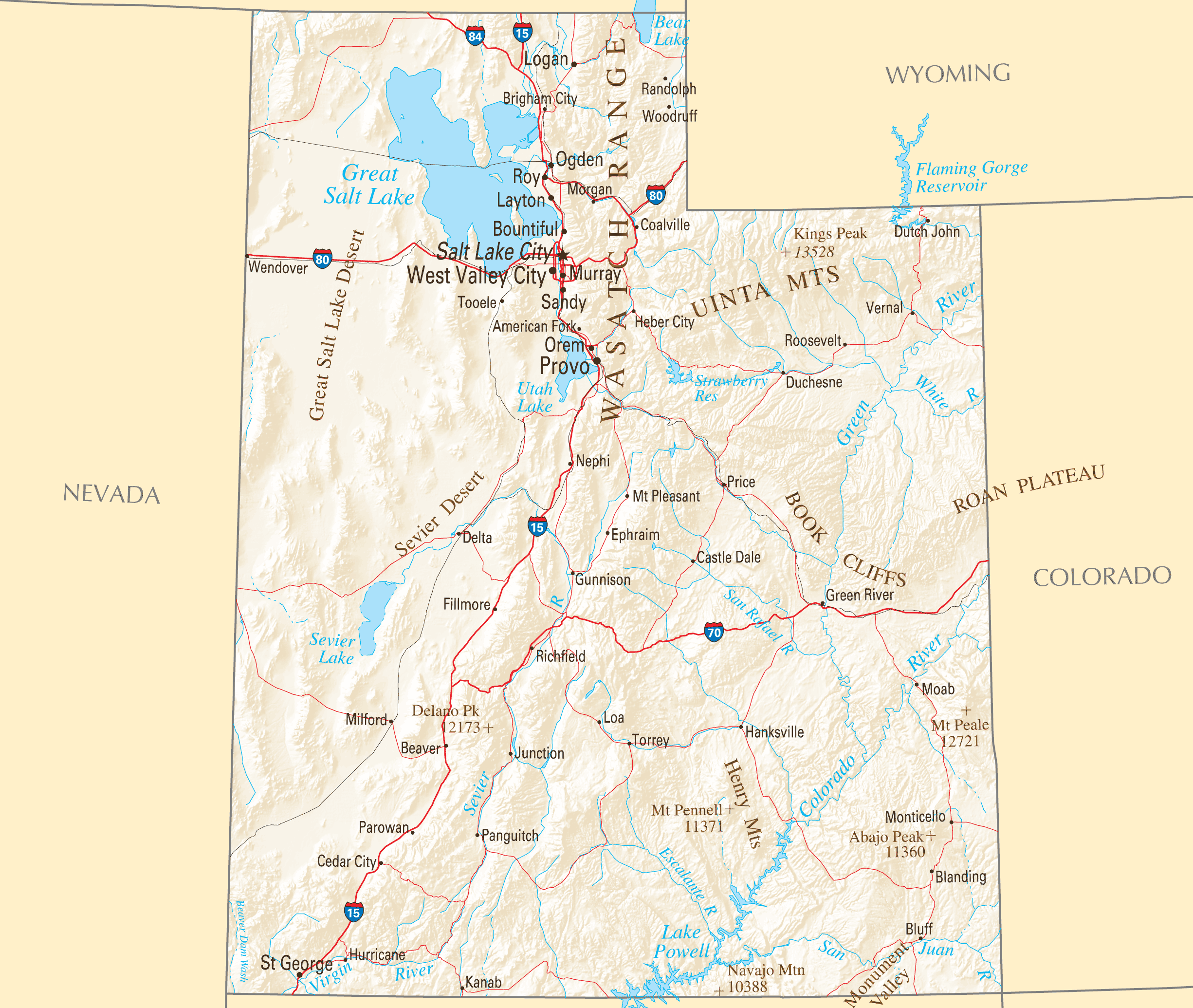 utah reference map • mapsofnet - click on the utah reference map