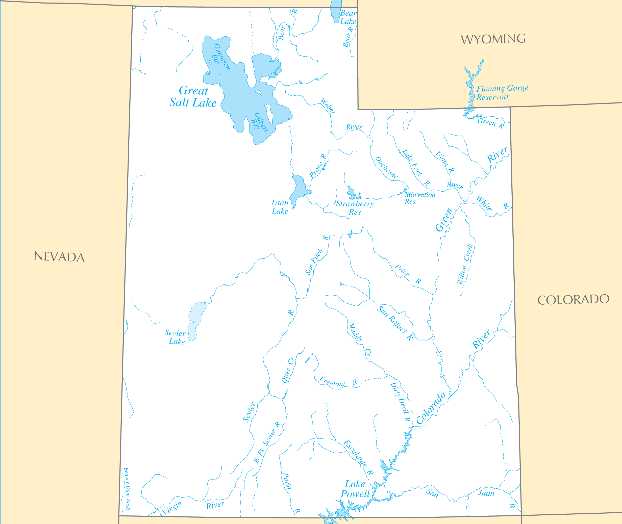 Utah Rivers And Lakes large map
