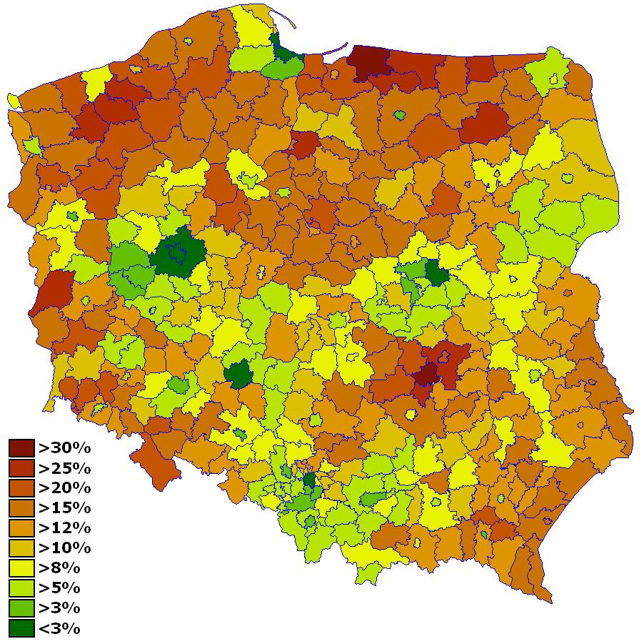 V 2008 Bezrobocie Wg Powiatow Barry Kent large map
