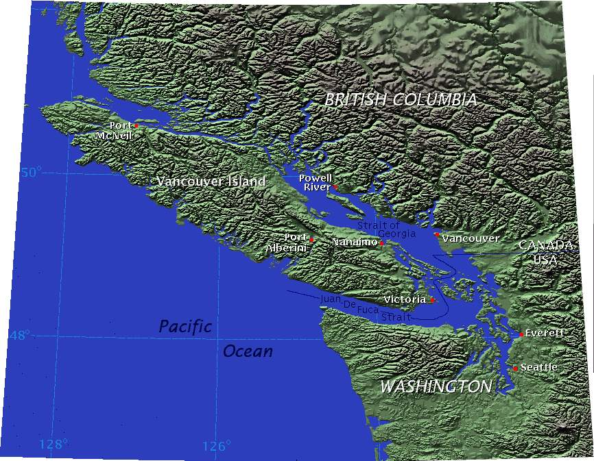 Vancouver Island Relief 1 large map