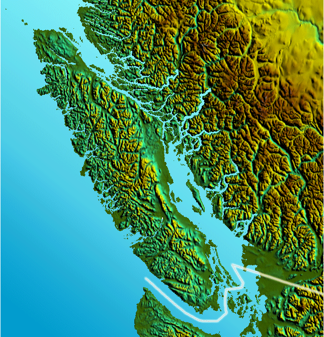 Vancouver Island Relief large map