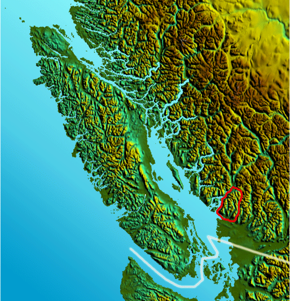 Vancouver Island Relief Northshoremtns large map