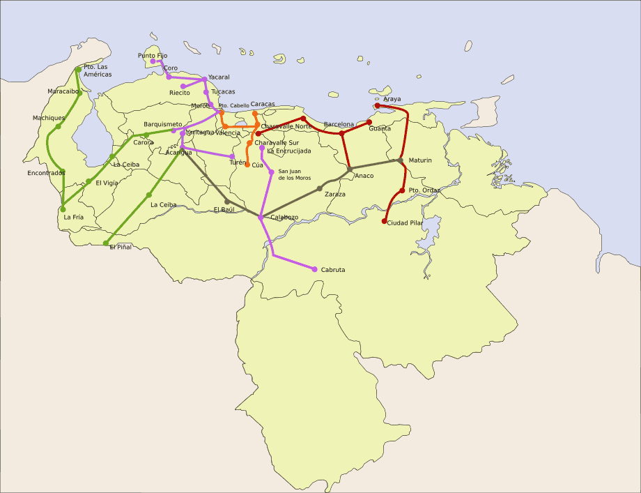 Venezuela Railways large map