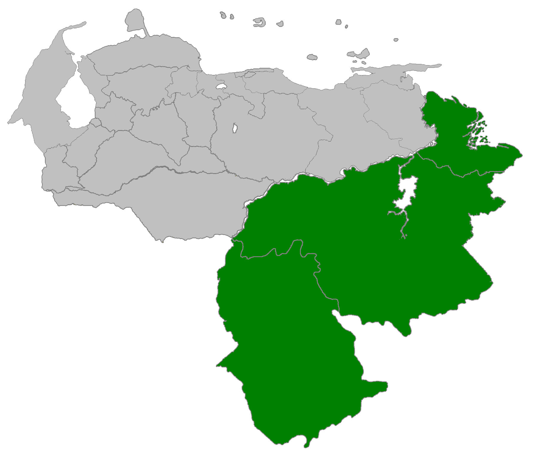 Venezuela Region Guayana large map