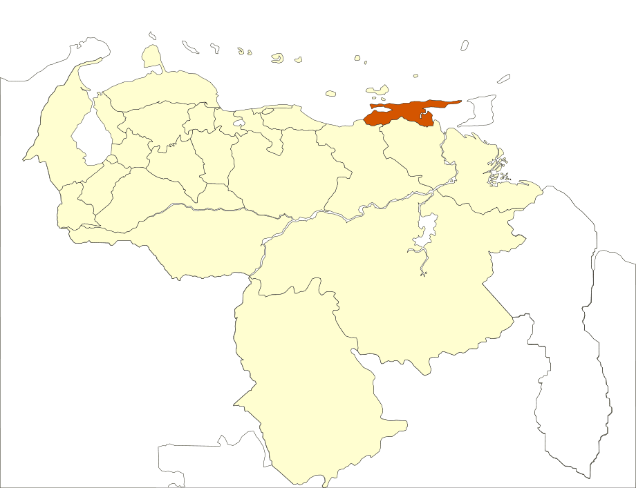 Venezuela Sucre State Location large map