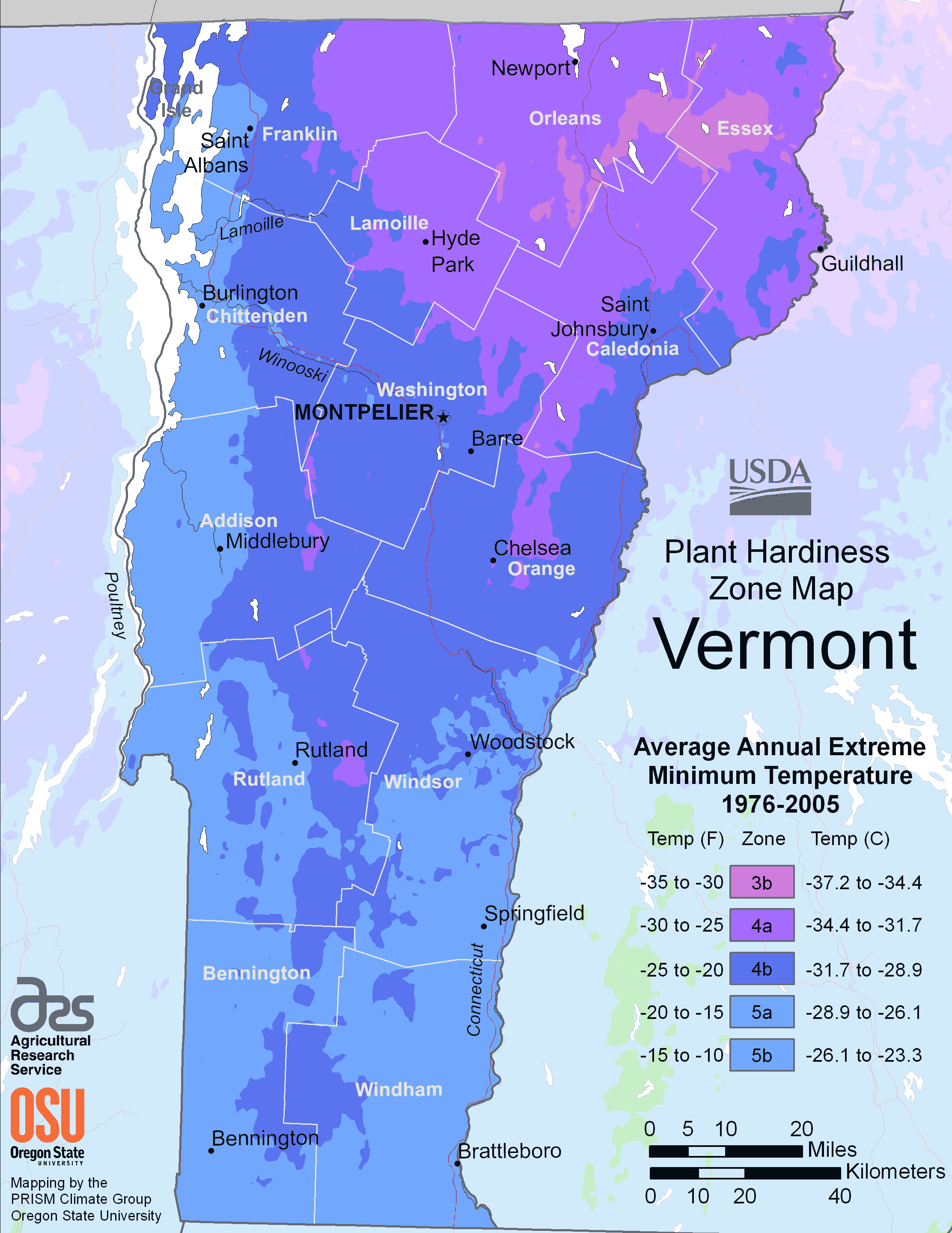 Vermont Plant Hardiness Zone Map large map