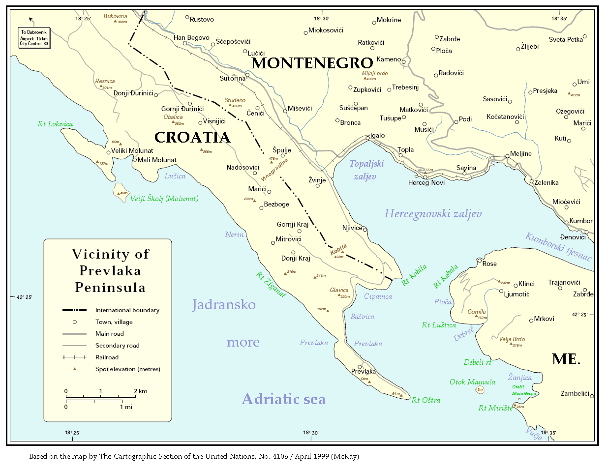 Vicinity of Prevlaka In Croatia And Montenegro large map