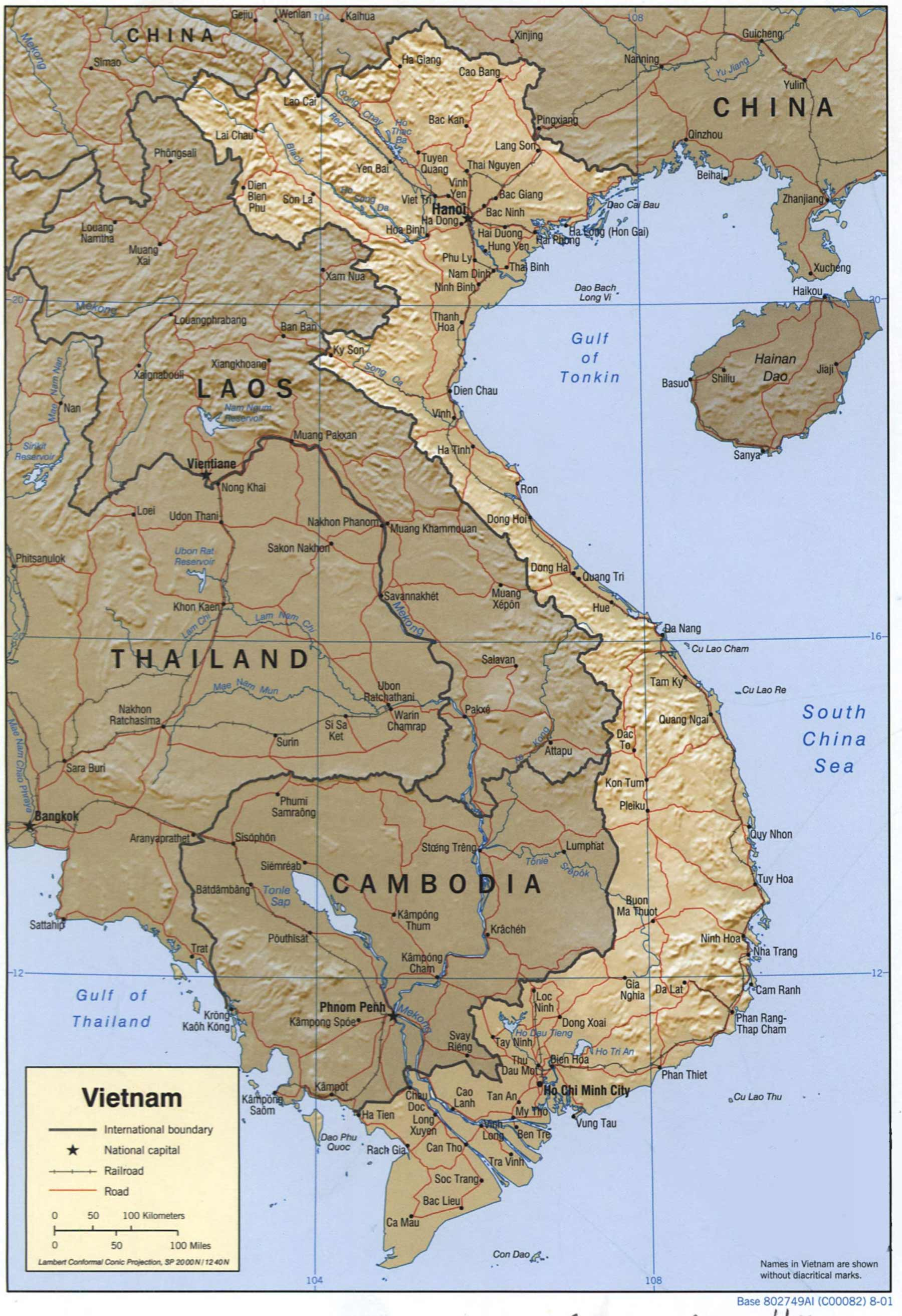 Vietnam Shaded Relief large map