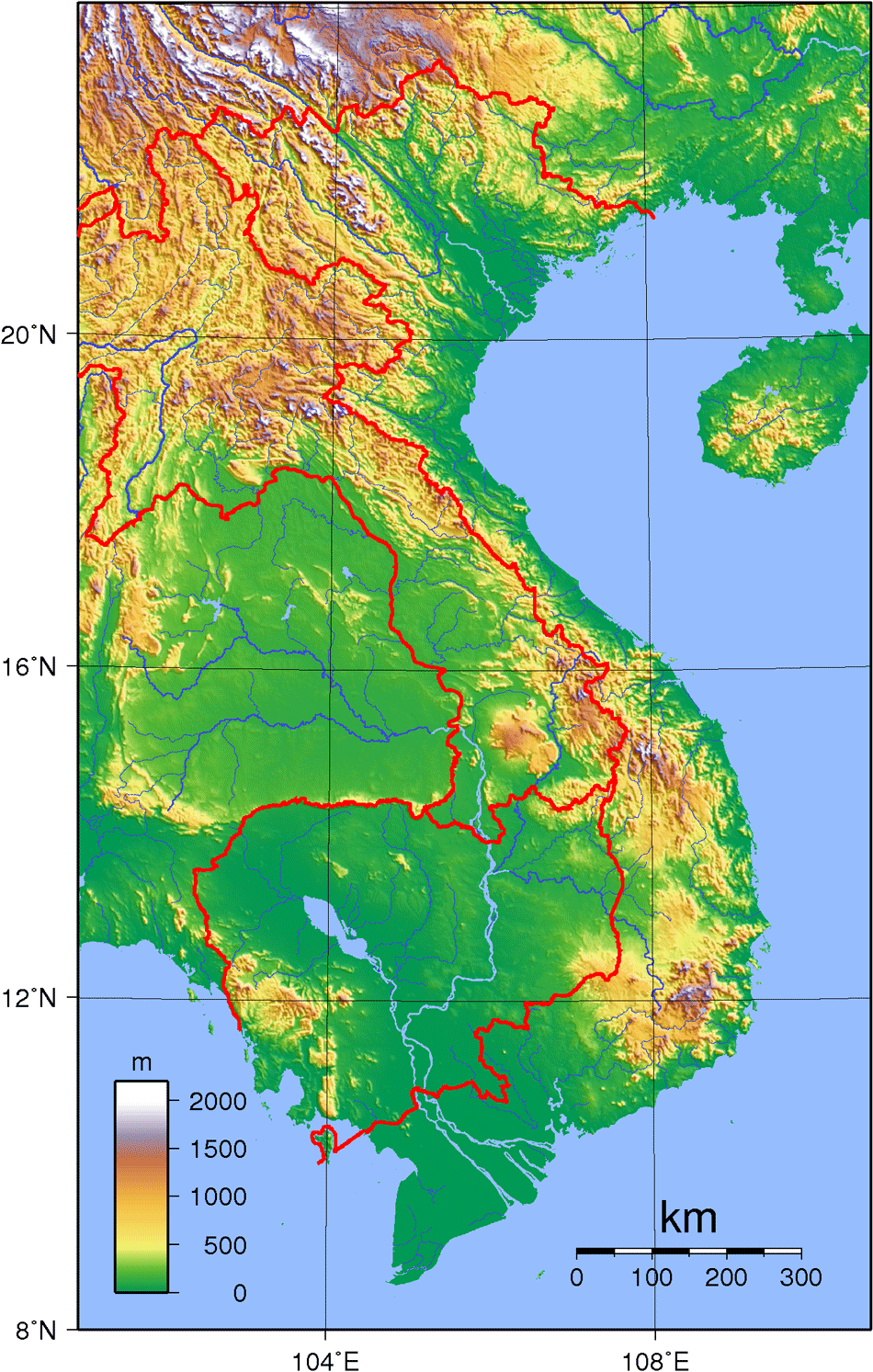 Vietnam Topography large map