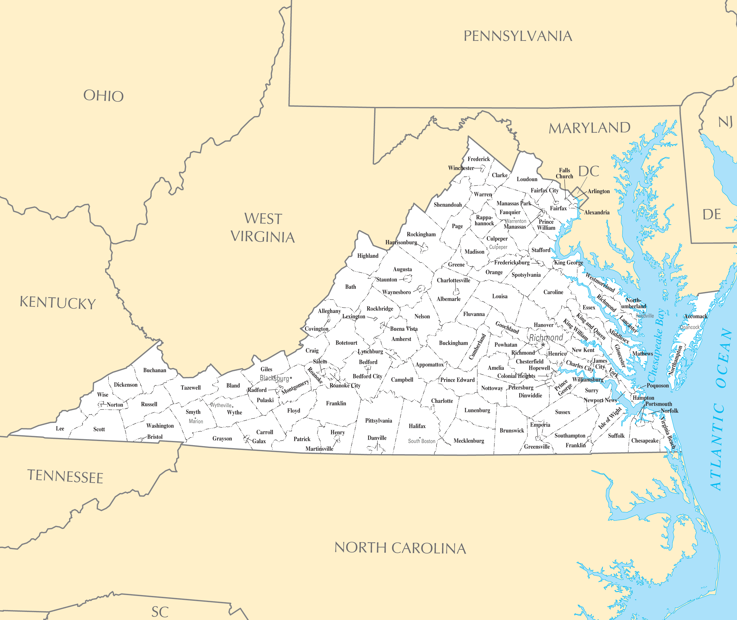 Map Of Virginia Cities And Towns Virginia Map - Map of va cities