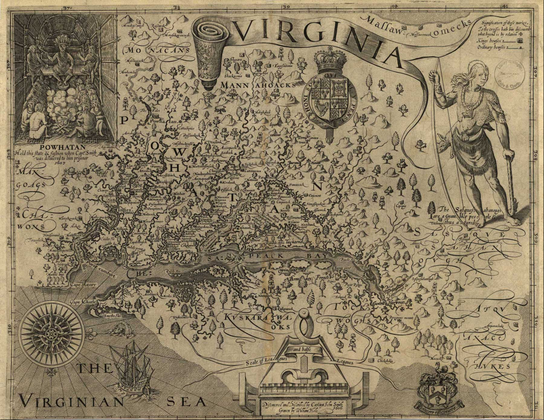 Virginia Map John Smith Large large map