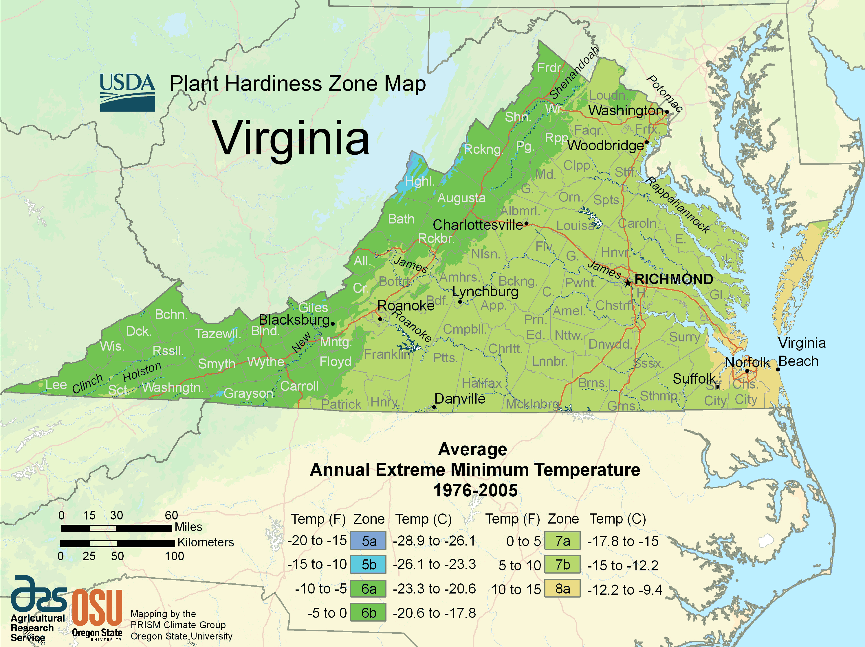 Virginia Plant Hardiness Zone Map large map