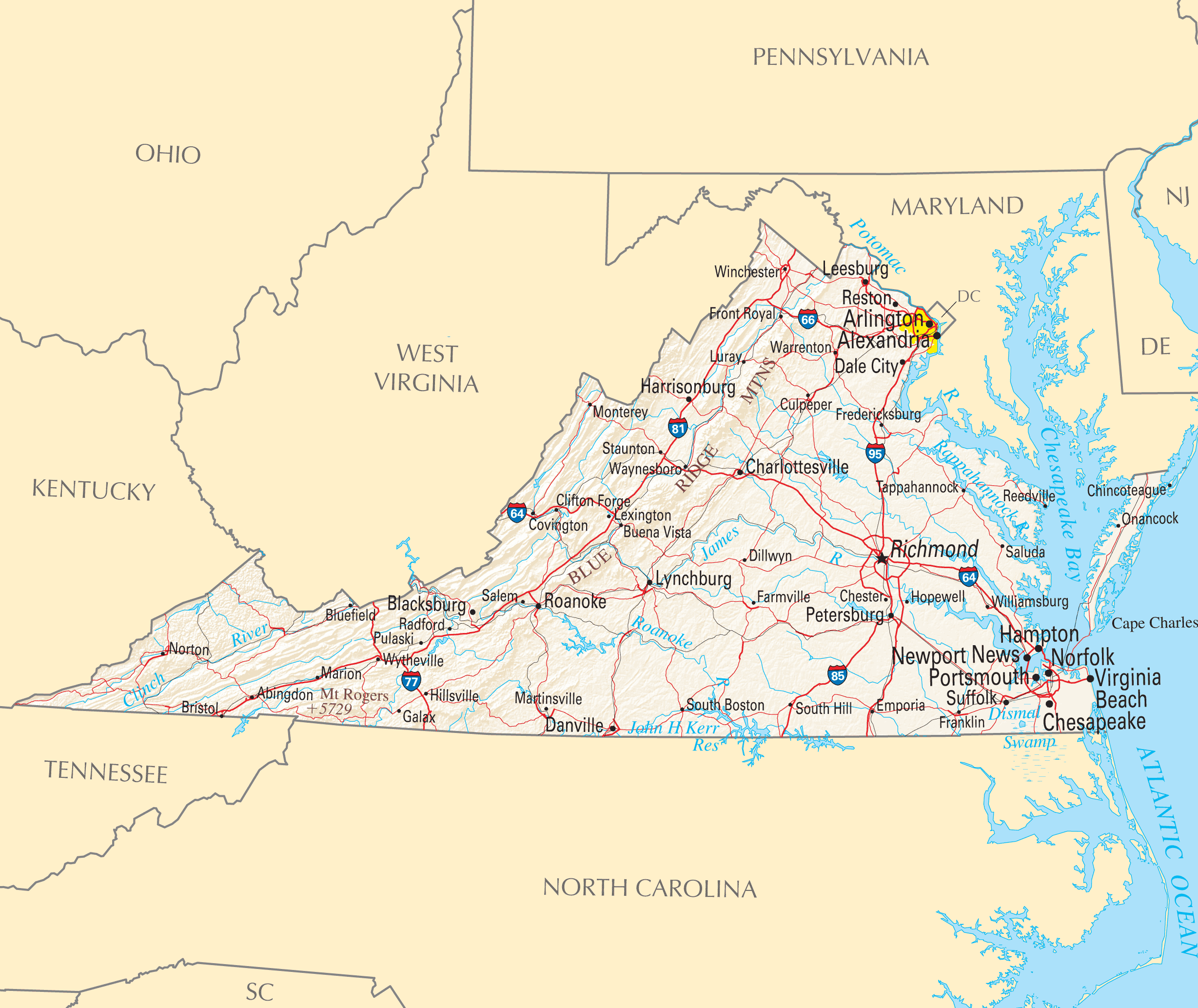 Virginia Reference Map