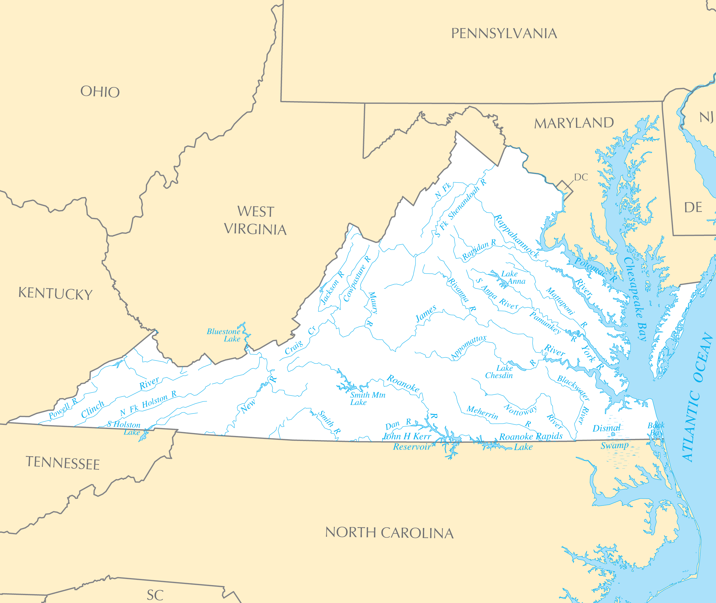 Virginia Rivers And Lakes  Mapsof