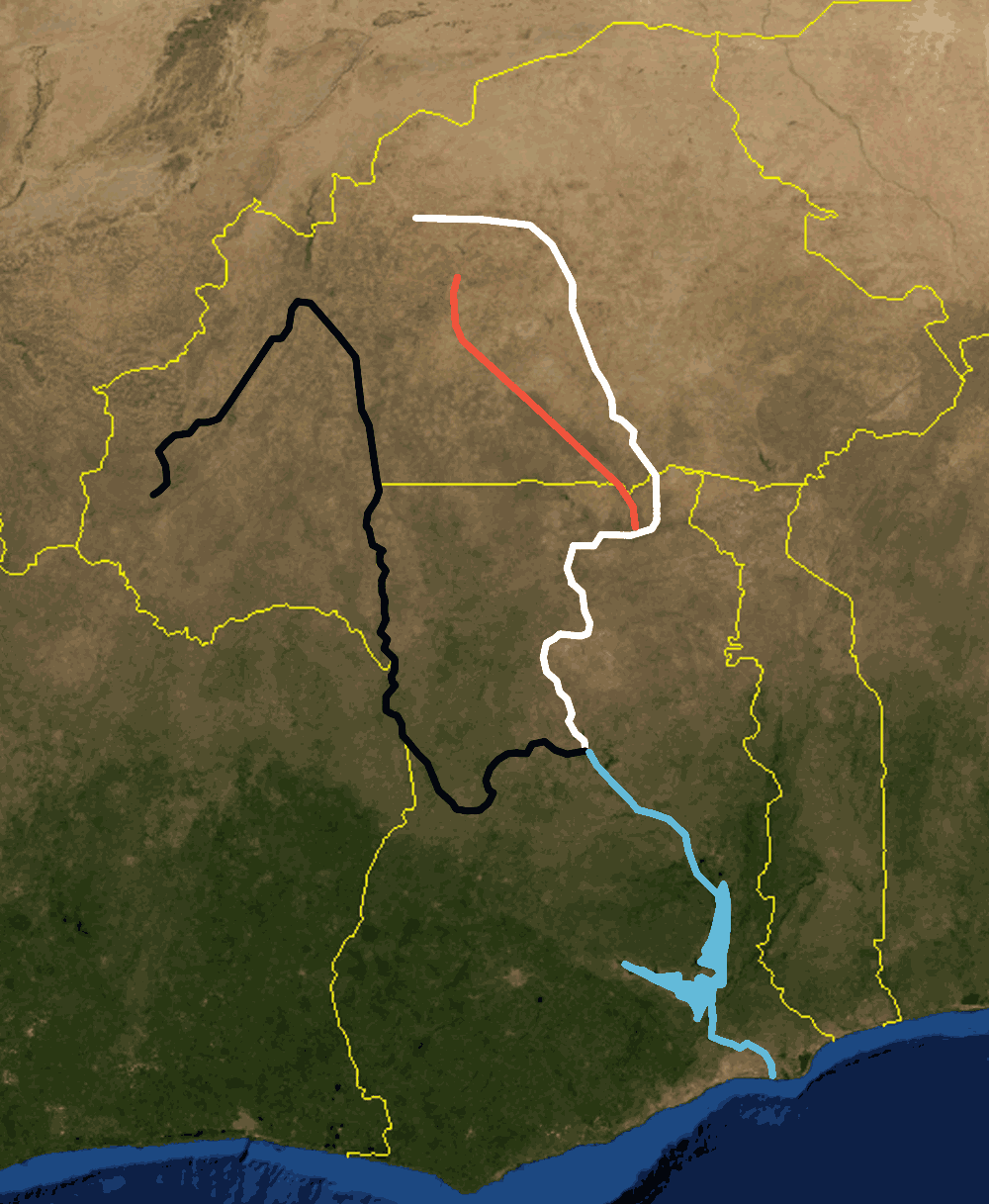 Volta River Black White Red large map