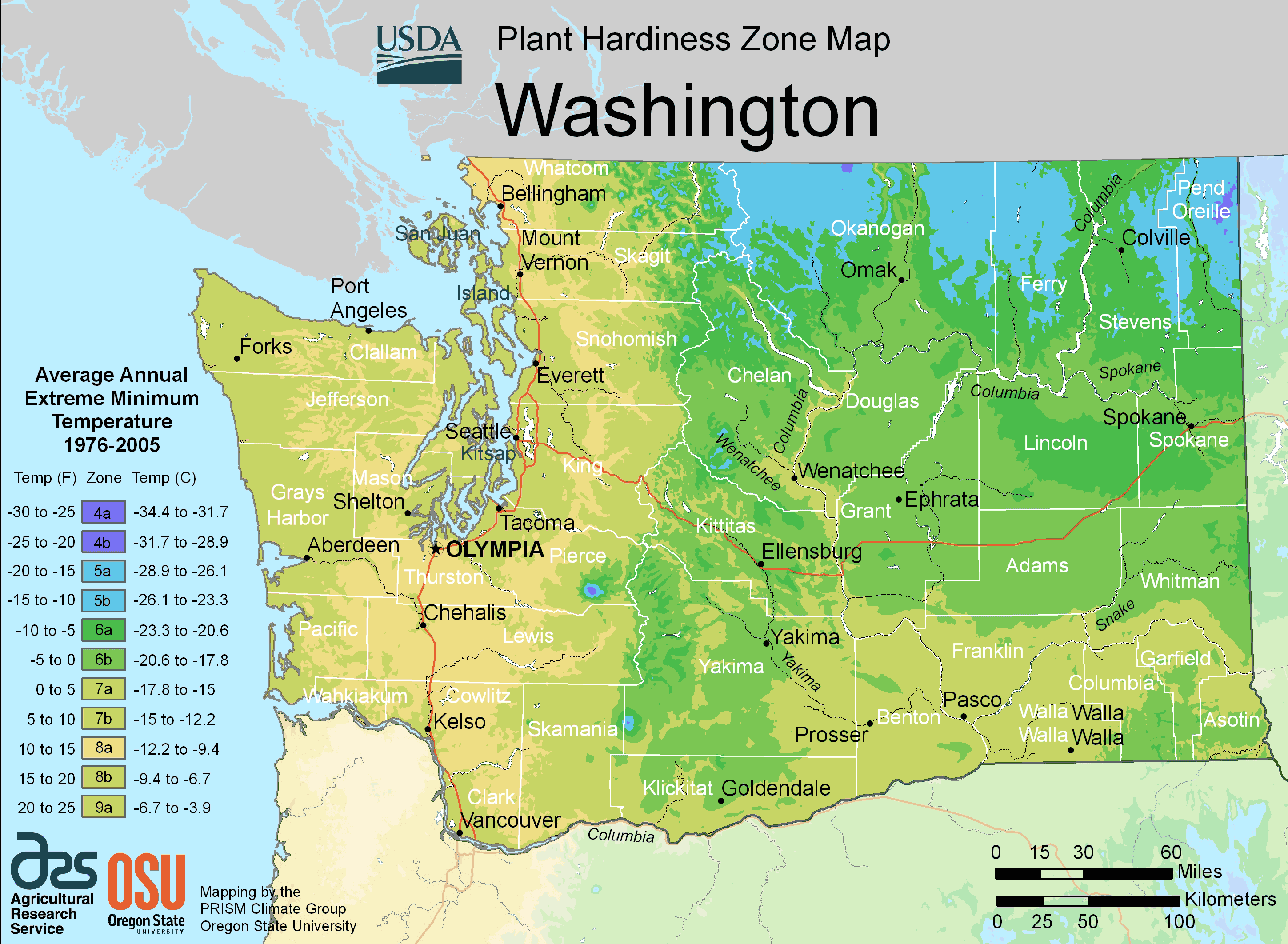 Washington Plant Hardiness Zone Map