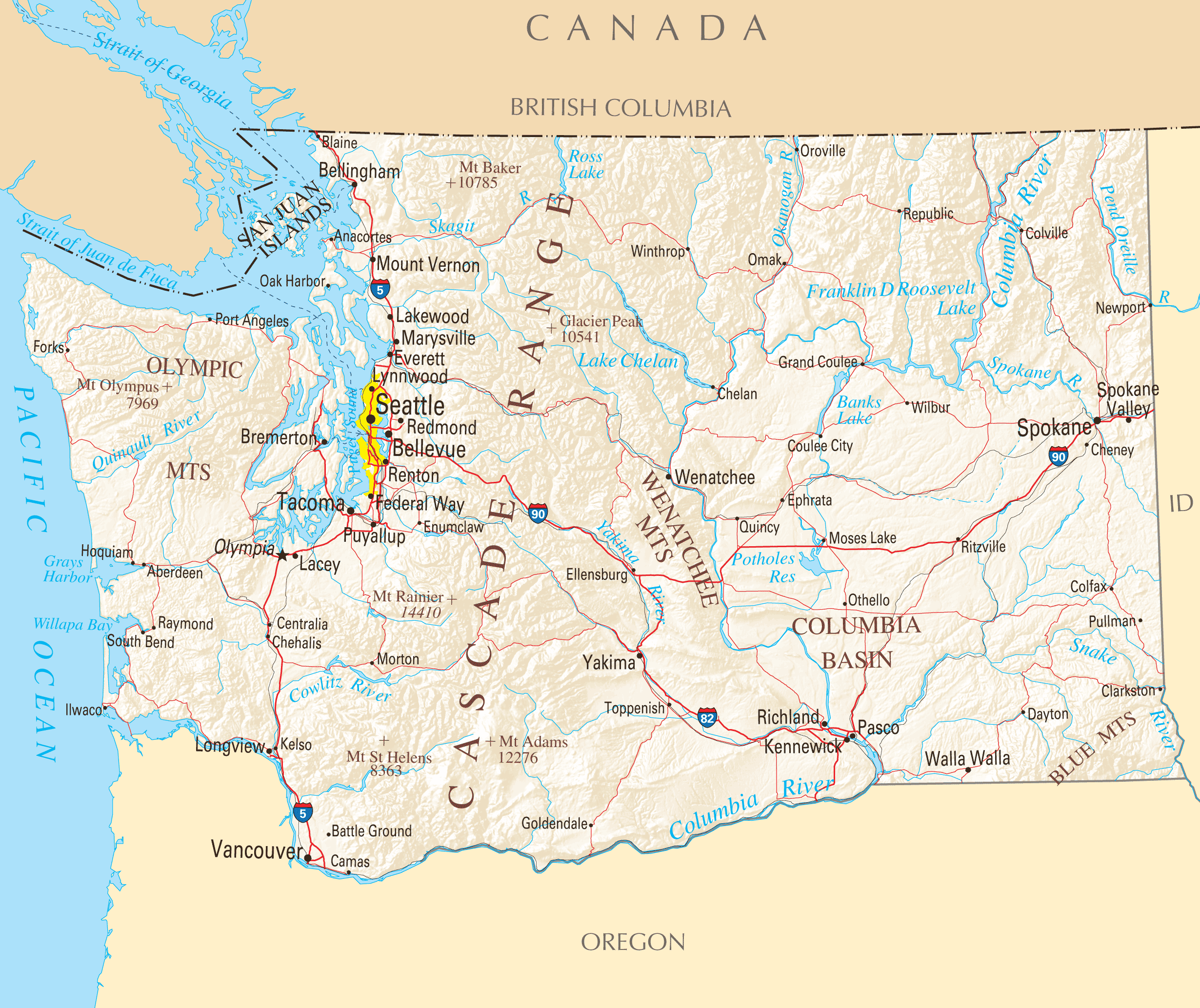 Washington Reference Map Mapsofnet