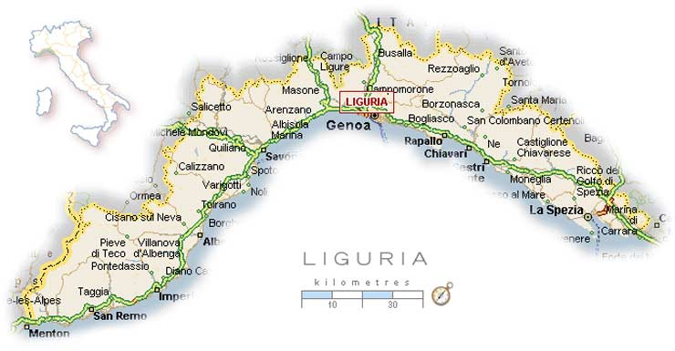 Weather Map of Liguria Mapsofnet