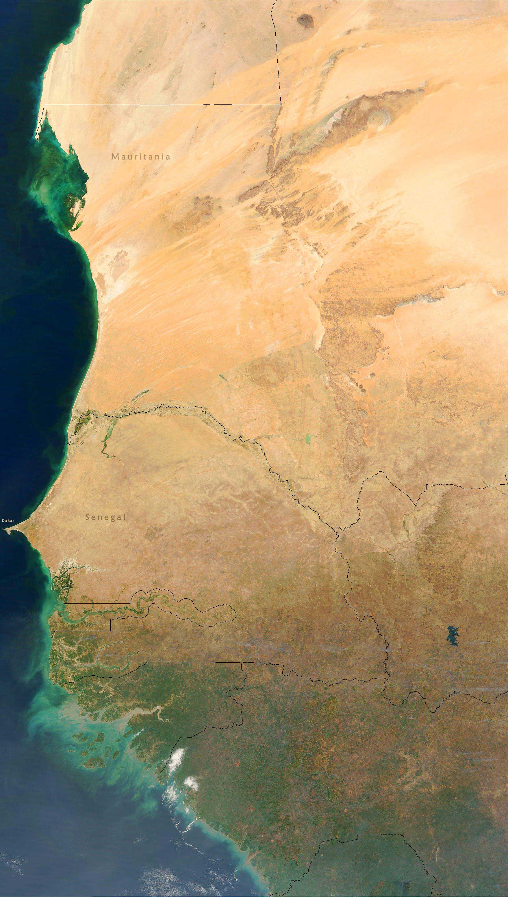West Africa Satellite Image large map