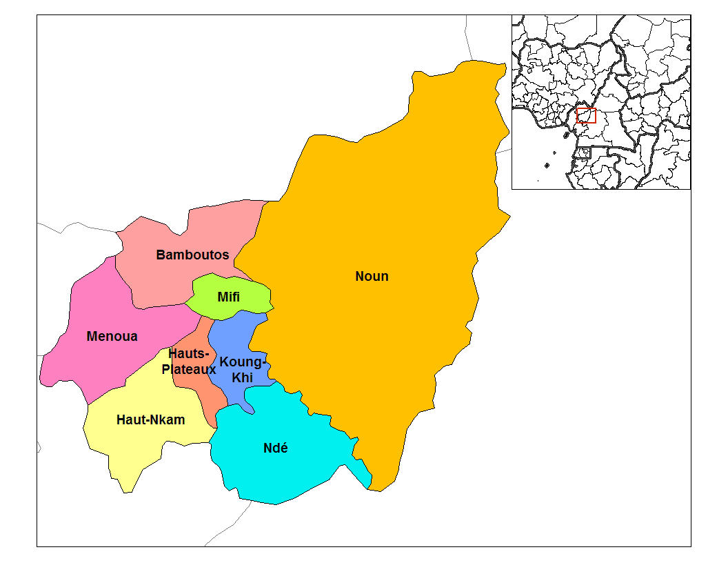 West Cameroon Divisions large map