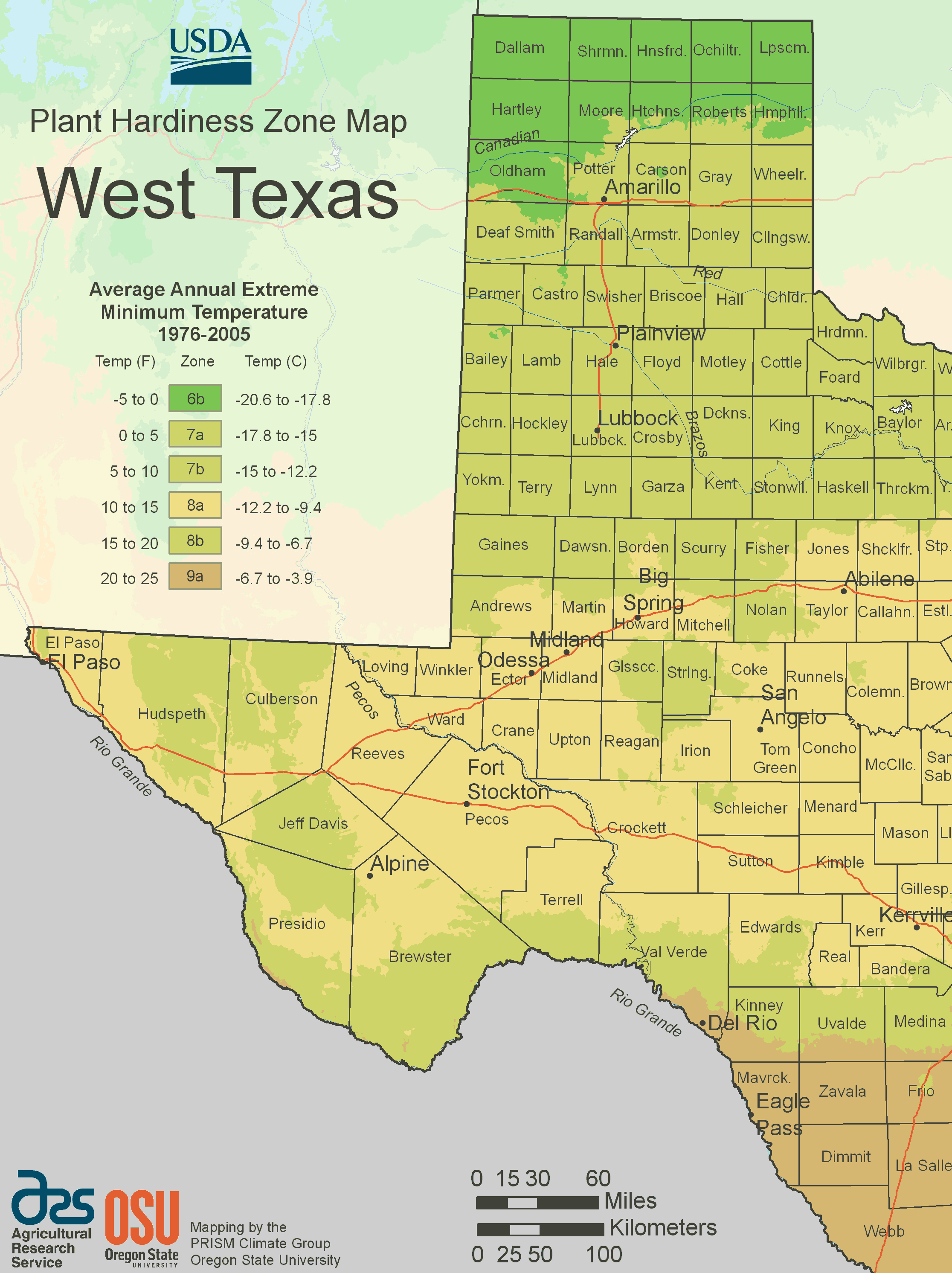 West Texas Plant Hardiness Zone Map large map