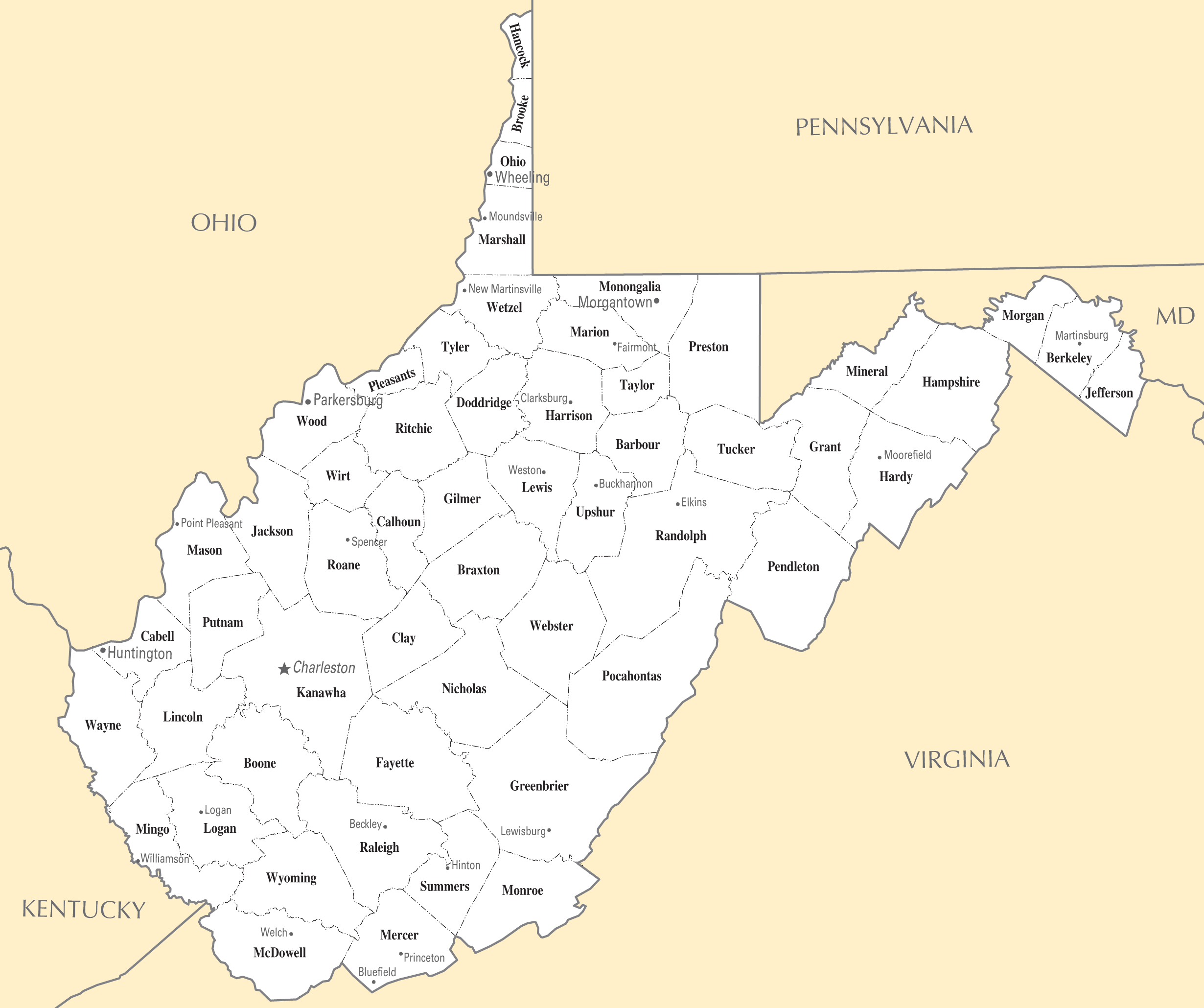 West Virginia Cities And Towns Mapsofnet