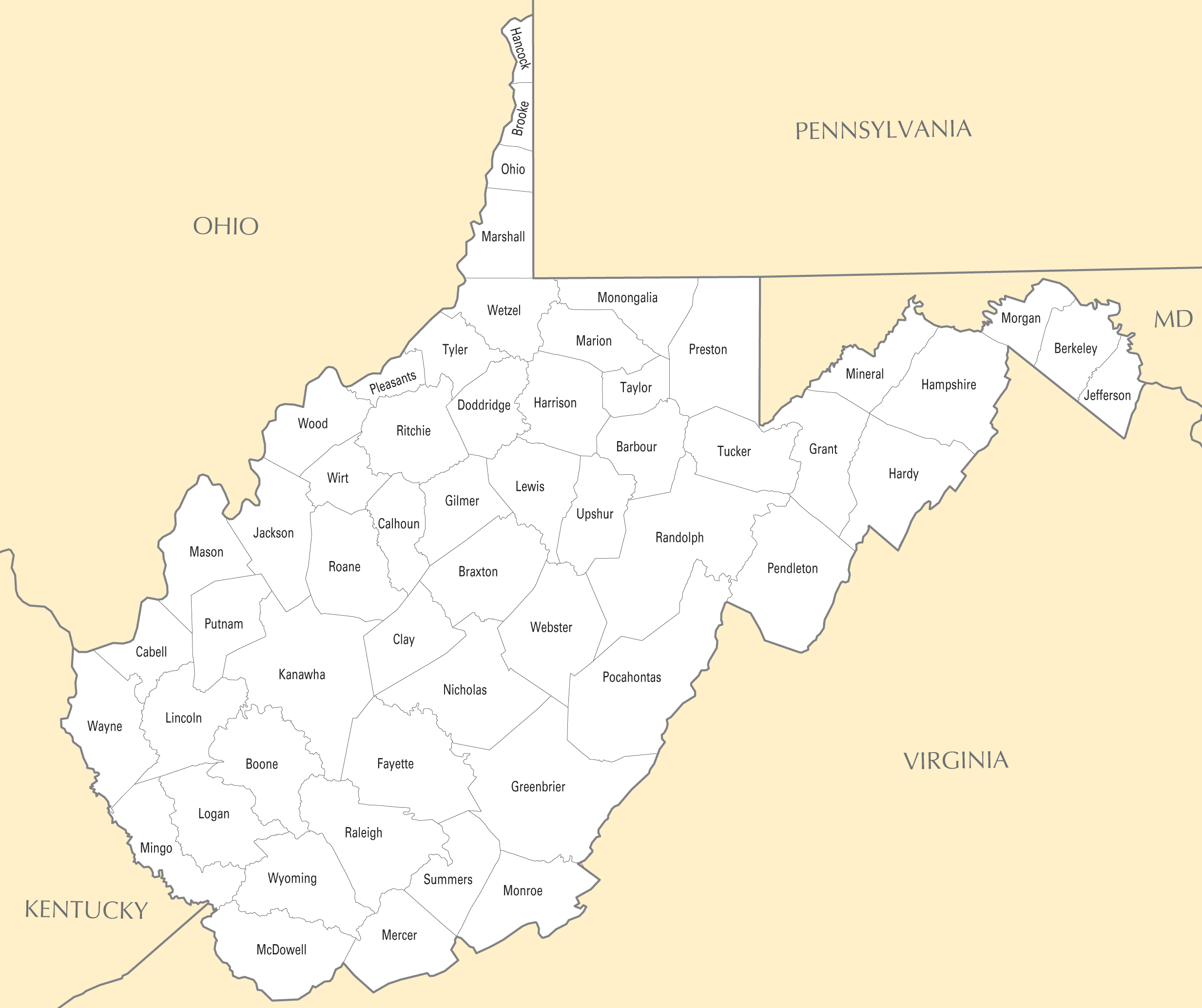 Map Of Va Counties Map Of Counties In Kansas - West virginia map showing counties