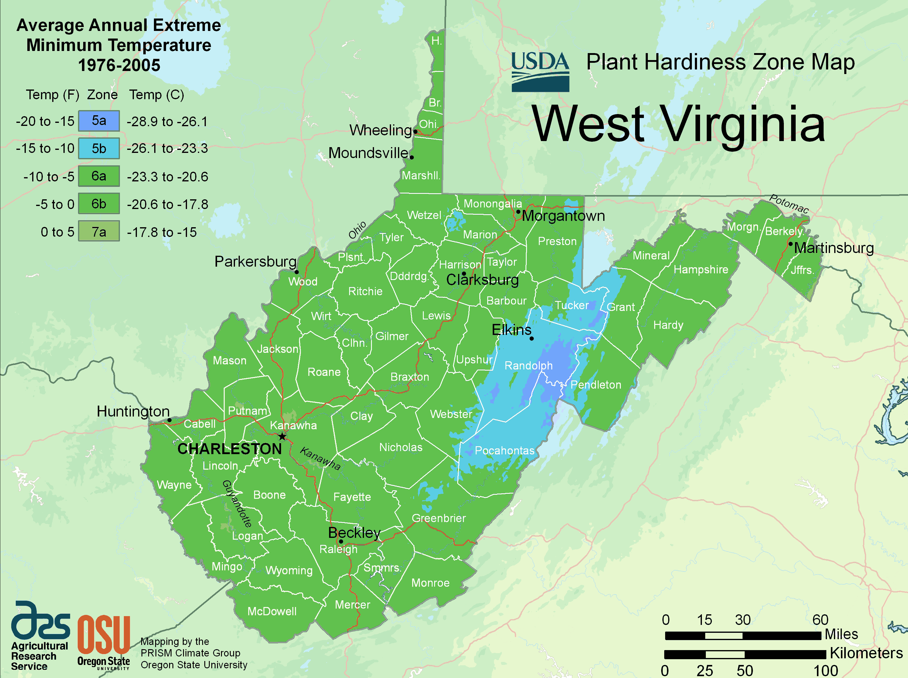 West Virginia Plant Hardiness Zone Map large map