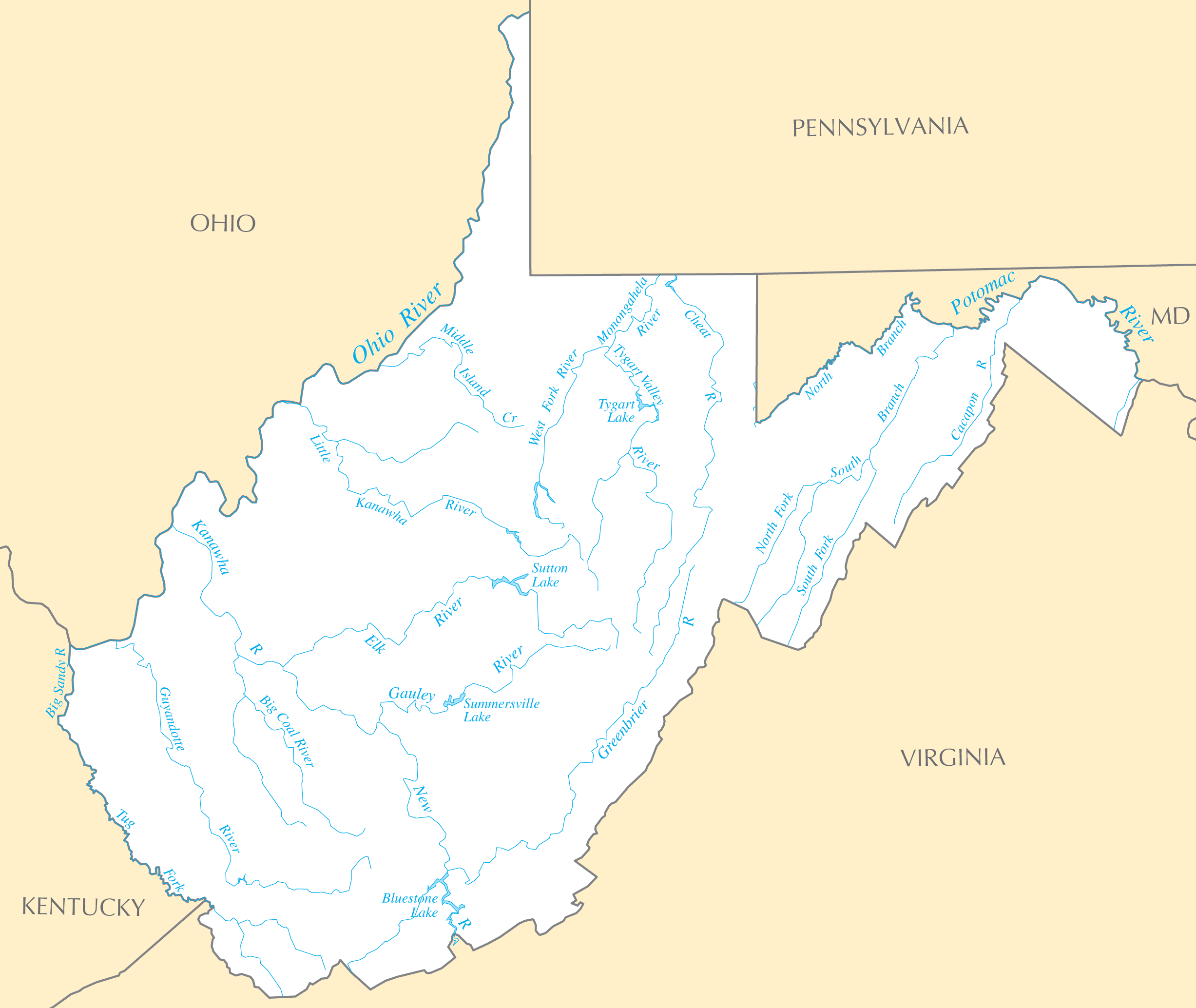 West Virginia Rivers And Lakes large map