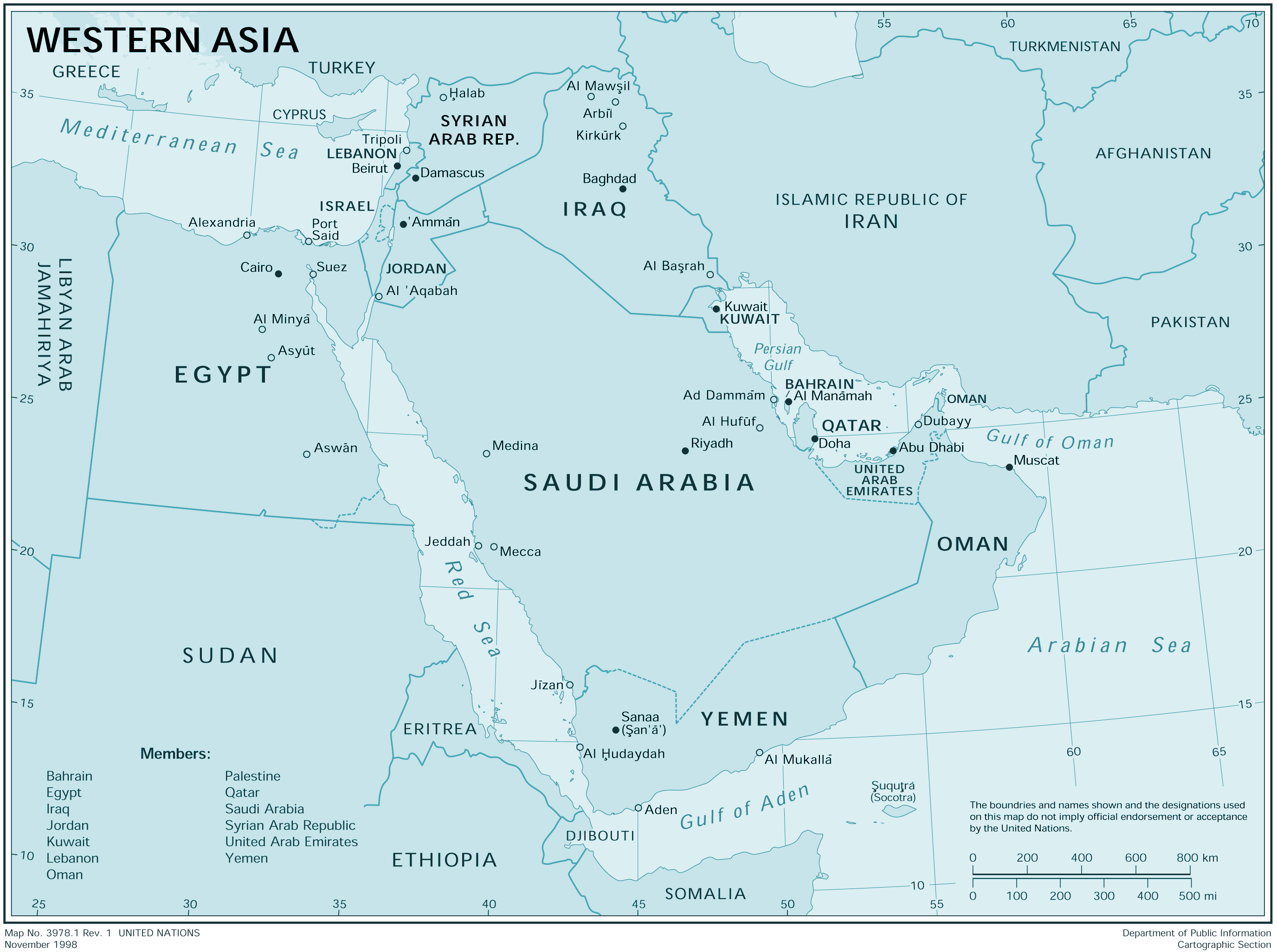 Western Asia large map