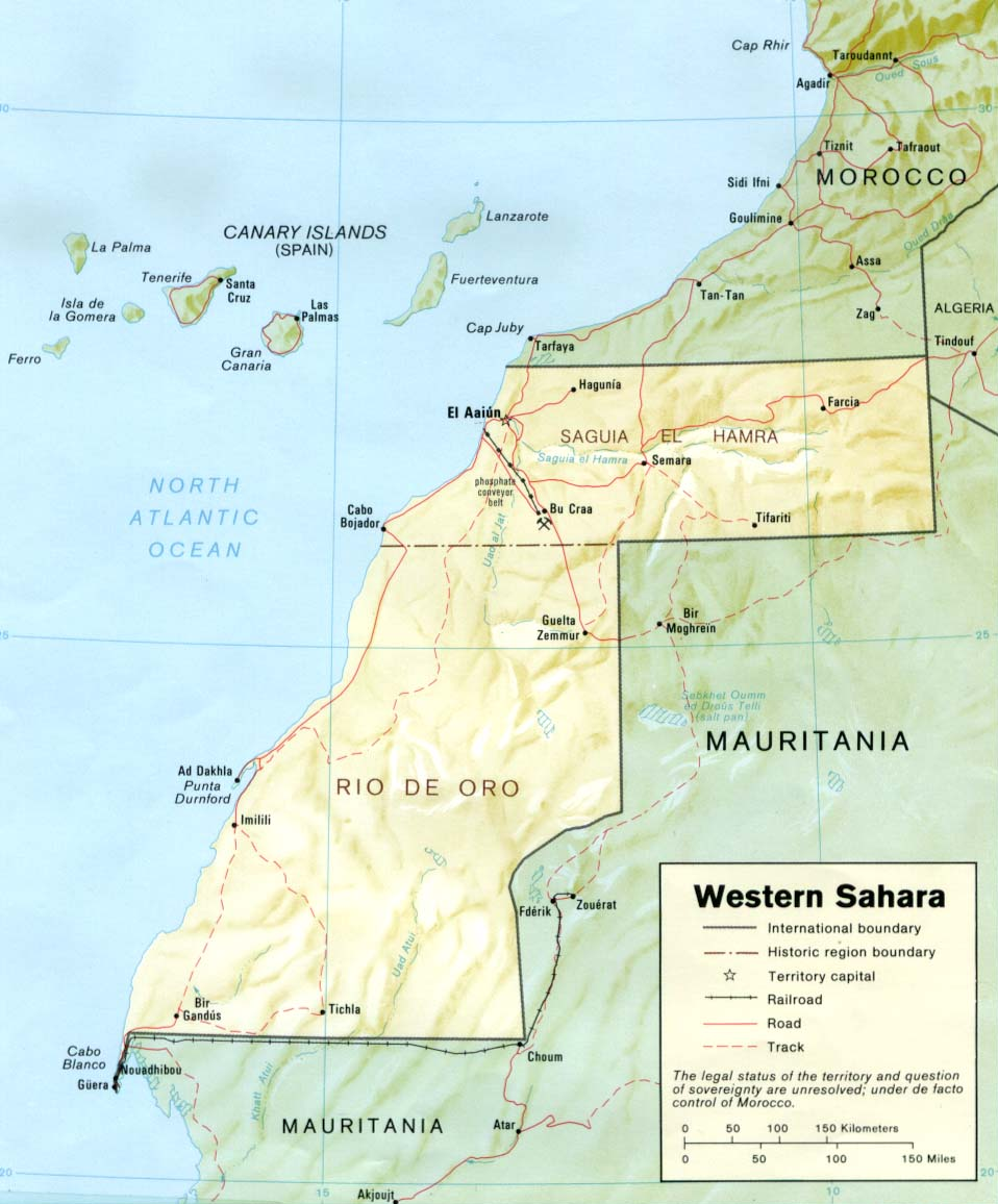Western Sahara Rel 1989 large map