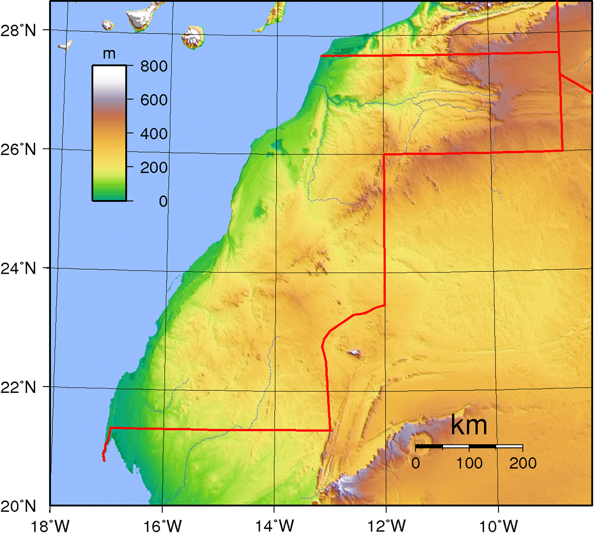 Western Sahara Topography large map