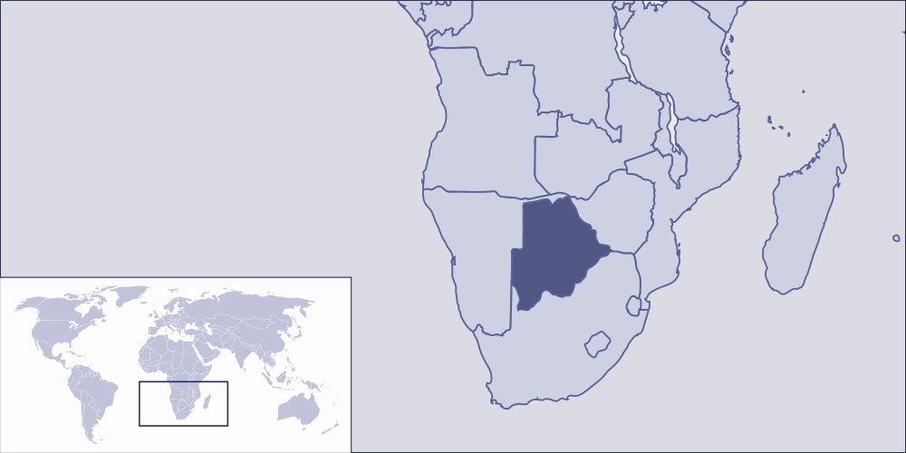 Where Is Botswana Located large map