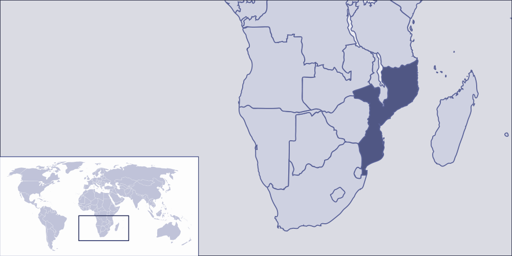 Where Is Mozambique Located large map