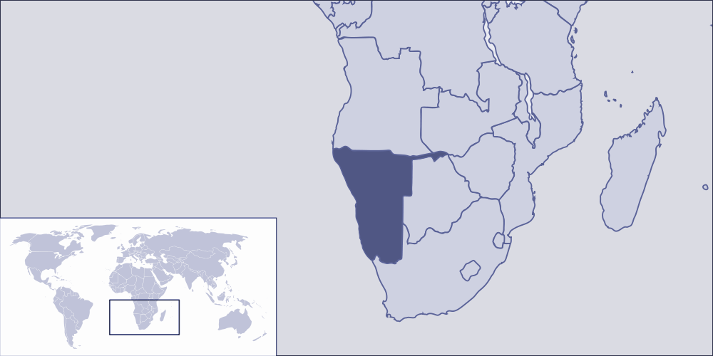 Where Is Namibia Located large map