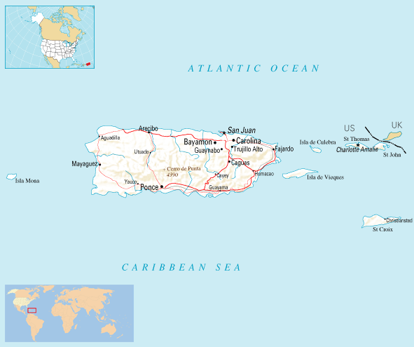 Where Is Puerto Rico Located large map